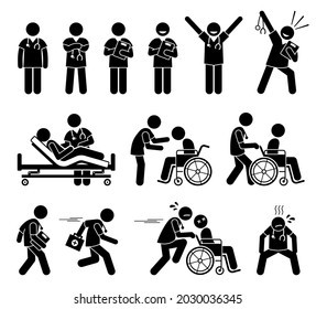 Male nurse and doctor attending to patient stick figure pictogram icon. Vector illustrations depict male nurse and doctor poses, working, and actions at hospital.