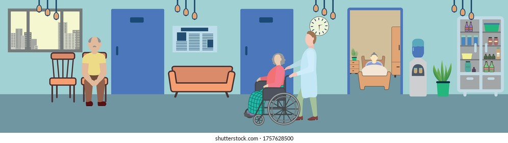 Male nurse and old woman in a wheelchair in the hallway of the hospital