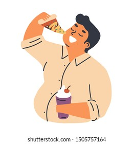 Male obesity problem concept flat vector illustration. Overweight man cartoon character eating pizza slice, takeaway fast food. Unhealthy lifestyle, harmful nutrition and food addiction.