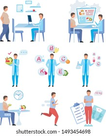 Male obesity problem flat vector illustrations set. Dietitian consulting fat man isolated cartoon characters. Doctor comparing fresh fruit and vitamin supplements. Patient jogging, doing exercise