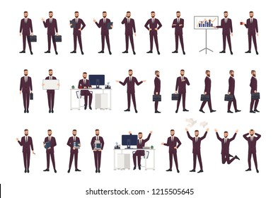 Male office worker, clerk or manager wearing business suit in various positions, moods and situations. Flat cartoon character isolated on white background. Modern colorful vector illustration.