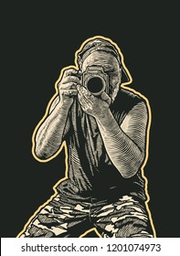 Male Old School Photographer With Medium Format Camera. Retro Engraving Style. Hand Drawn Vector Illustration.