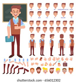 Male old teacher character creation set. Front, side, back view character.Cartoon flat  illustration isolated on white.