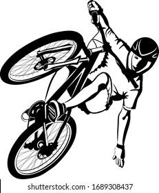 male on MTB bike - black and white vector illustration