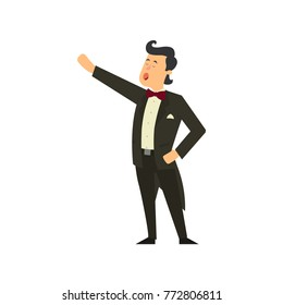 Male opera singer. vector illustration