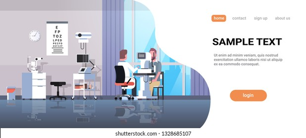male ophthalmologist checking patient vision doctor in uniform making eye surgery laser correction medicine and healthcare concept oculists office interior horizontal copy space