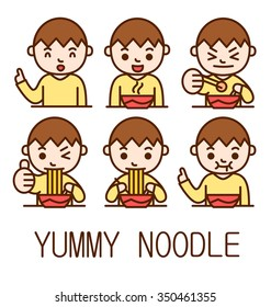 Male order and eat noodle. Character vectors