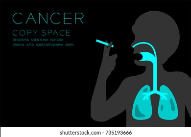 Male Organs X-ray set; Lung Cancer concept idea illustration isolated glow in the dark background; with Cancer text and copy space