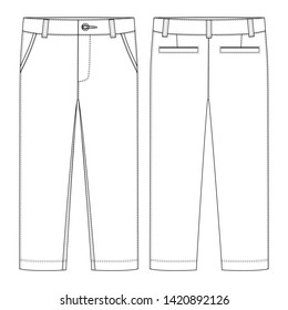 Male pants. KIds trousers design template. Front and back view. Technical sketch of casual pants. Vector illustration
