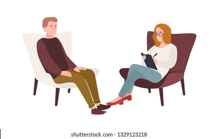 Male patient in armchair and female psychologist, psychoanalyst or psychotherapist sitting in front of him and talking. Psychotherapeutic session, psychiatric aid. Flat cartoon vector illustration.