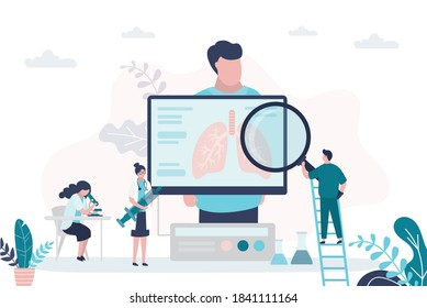 Male patient, pulmonologists check condition, treat lungs. Doctors with magnifying glass and syringe. Technology of analysis respiratory organ. Pulmonology, healthcare banner. Flat vector illustration