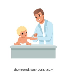Male pediatrician in white coat making a shot to infant baby at doctors office, vaccination, healthcare for children vector Illustration on a white background