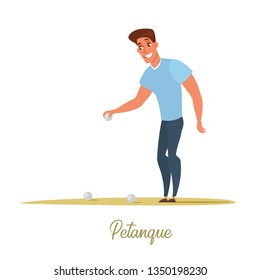 Male petanque player cartoon character. Handsome boy, man holding metal ball flat drawing. Petanque lettering, calligraphy. French game played on sand with steel spheres vector illustration