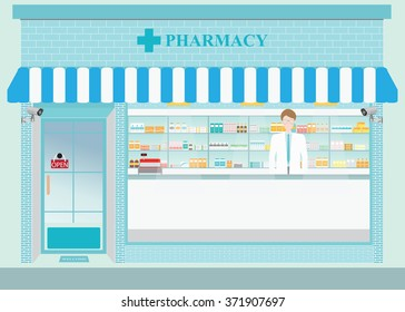 Male pharmacist at the counter in a pharmacy opposite of shelves with medicines, building exterior front view and interior, drug store Health care conceptual vector illustration.