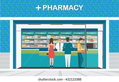 Male pharmacist at the counter in a pharmacy shop opposite of shelves with medicines, building exterior front view and interior, drug store Health care conceptual vector illustration.