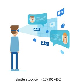 Male plunged in VR glasses communication chatting with people having profiles and pictures social elements in form of likes and commentaries vector illustration