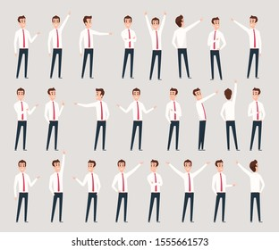 Male pointing. Businessman characters standing and offering consultative leader pointing vector persons