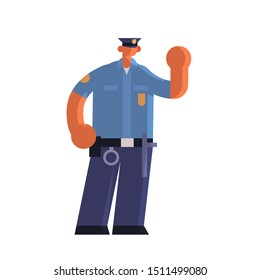 male police officer holding hand with stop gesture policeman in uniform security authority justice law service concept flat full length white background