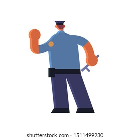 male police officer holding hand with stop gesture policeman in uniform holding stick security authority justice law service concept flat full length white background