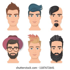 Male portrait avatar face set vector illustration. Young stylish man faces with various beards and hairstyle. Trendy paper layered cut art. Origami beauty fashion concept logo.