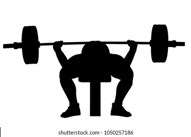 male powerlifter bench press powerlifting black silhouette