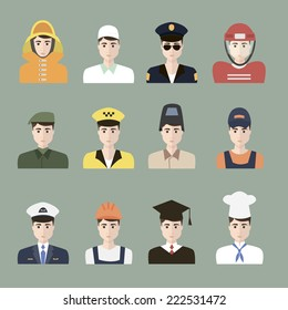Male profession. Vector. EPS10. Set of App Flat Icons with Man of Different Professions