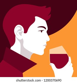 Male profile with a glass of wine. Portrait of a sommelier. Winemaking Vector flat illustration