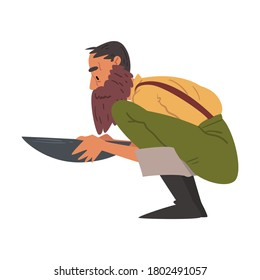 Male Prospector, Bearded Gold Miner Character Panning Golden Sand and Pills Cartoon Style Vector Illustration on White Background