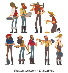 Male Prospectors Characters Set, Bearded Gold Miners Characters Wearing Vintage Clothes with Tools for Gold Nuggets Mining Cartoon Style Vector Illustration
