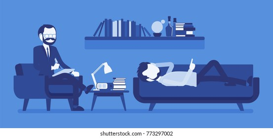 Male psychiatrist consulting. Medical practitioner treating patient on behavioral, mental health problems, office. Specialist to help with emotional disorders. Vector illustration, faceless characters