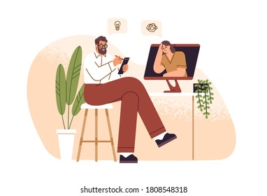 Male psychologist consulting female patient online vector flat illustration. Psychoanalyst sitting in front of computer and making notes isolated. Psychology aid to woman with mental disorder