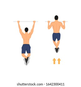 Male pull up workout steps. Man hanging on pull up bar. Gym workout. Sport excercise. Calisthenics body building activity - Simple flat character vector illustration.