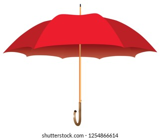 Male red umbrella cane. Opened. Vector illustration.