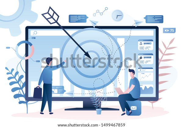 Male remarketing manager and caucasian man specialist put targeted ads. Remarketing strategy, digital marketing tool, visitors generation methodology concept. Trendy style vector illustration