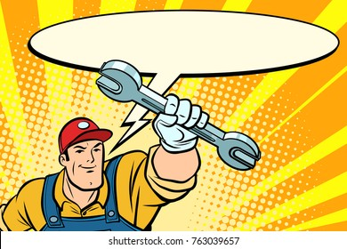 Male repairman with a wrench says comic book bubble. Comic book cartoon pop art retro vector illustration drawing