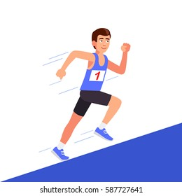 Male runner in black tights running uphill. On the T-shirt Number 1. Flat style vector illustration clipart.
