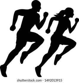 Male Runner and Female Runner Silhouette Isolated Vector illustration