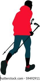 male runner with trekking poles running mountain trail