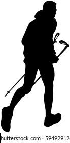 male runner with trekking poles running mountain trail black silhouette