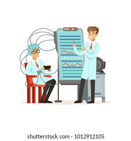 Male scientist conducting experiment in a modern laboratory, electroencephalography, man in a helmet for brain research vector illustration