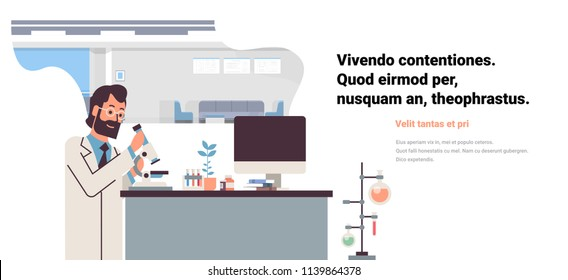 Male scientist working with microscope in laboratory doing research man making scientific experiments doctor in lab workplace copy space horizontal vector illustration