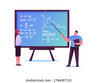 Male Scientists Characters Stand at Chalkboard Trying to Solve Mathematics Formula or Equation. University Professors Use Left Brain Part for Studying Science. Cartoon People Vector Illustration