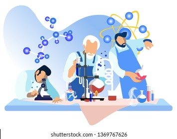 Male Scientists in Lab Flat Vector Illustration. Researchers Adding Liquids in Beakers Isolated Characters. Cartoon Assistant Studying Specimen in Microscope. Molecules in Chemical Reaction