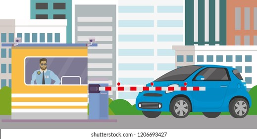 Male security guard in cabin,gate with barrier and blue car,city view on background,Flat vector illustration.