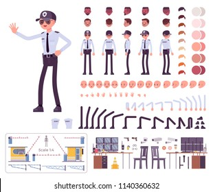 Male security guard character creation set. Uniformed officer or protective agent. Full length, different views, emotions, gestures. Build your own design. Cartoon flat style infographic illustration