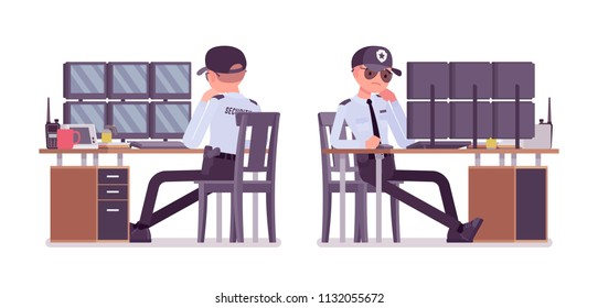 Male security guard monitoring alarm systems. Uniformed officer or protective agent watching. Public, private city safety concept. Vector flat style cartoon illustration, isolated on white background