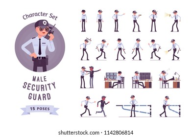 Male security guard ready-to-use character set. Uniformed officer or protective agent inspecting and monitoring. Public, private city safety concept. Full length, different views, gestures, emotions
