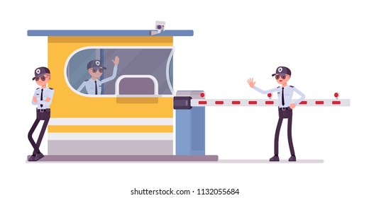 Male security guard at toll booth. Uniformed officer, protective agent near gate stops drivers. Public, private city safety concept. Vector flat style cartoon illustration, isolated, white background