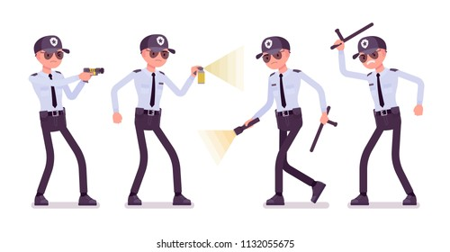 Male security guard at work. Uniformed officer, protective agent with electroshock, flash light. Public, private city safety concept. Vector flat style cartoon illustration, isolated, white background