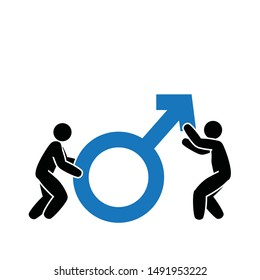 male  sexual function improvement , two man holding Mars symbol